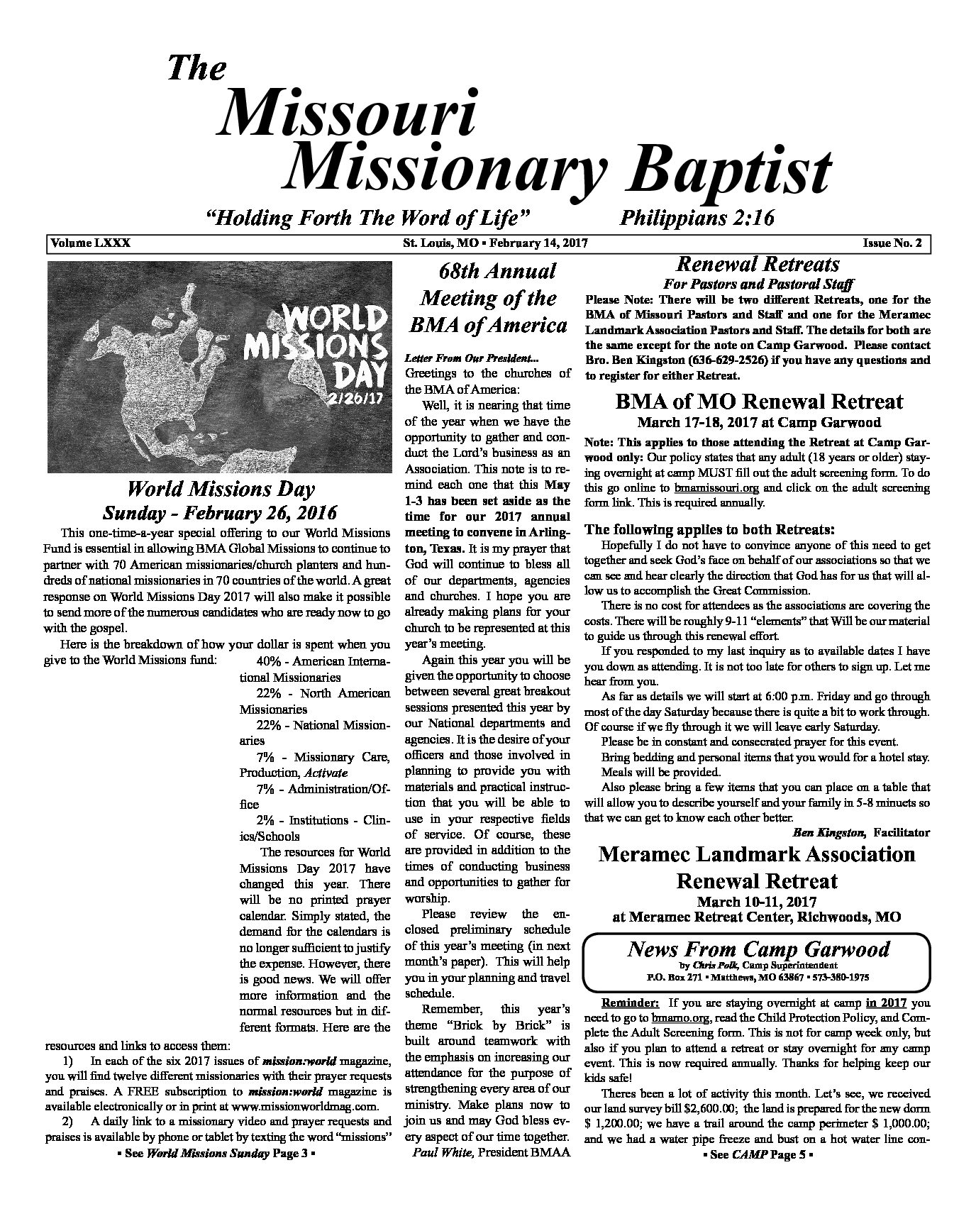 February Issue of the Missouri Missionary Baptist