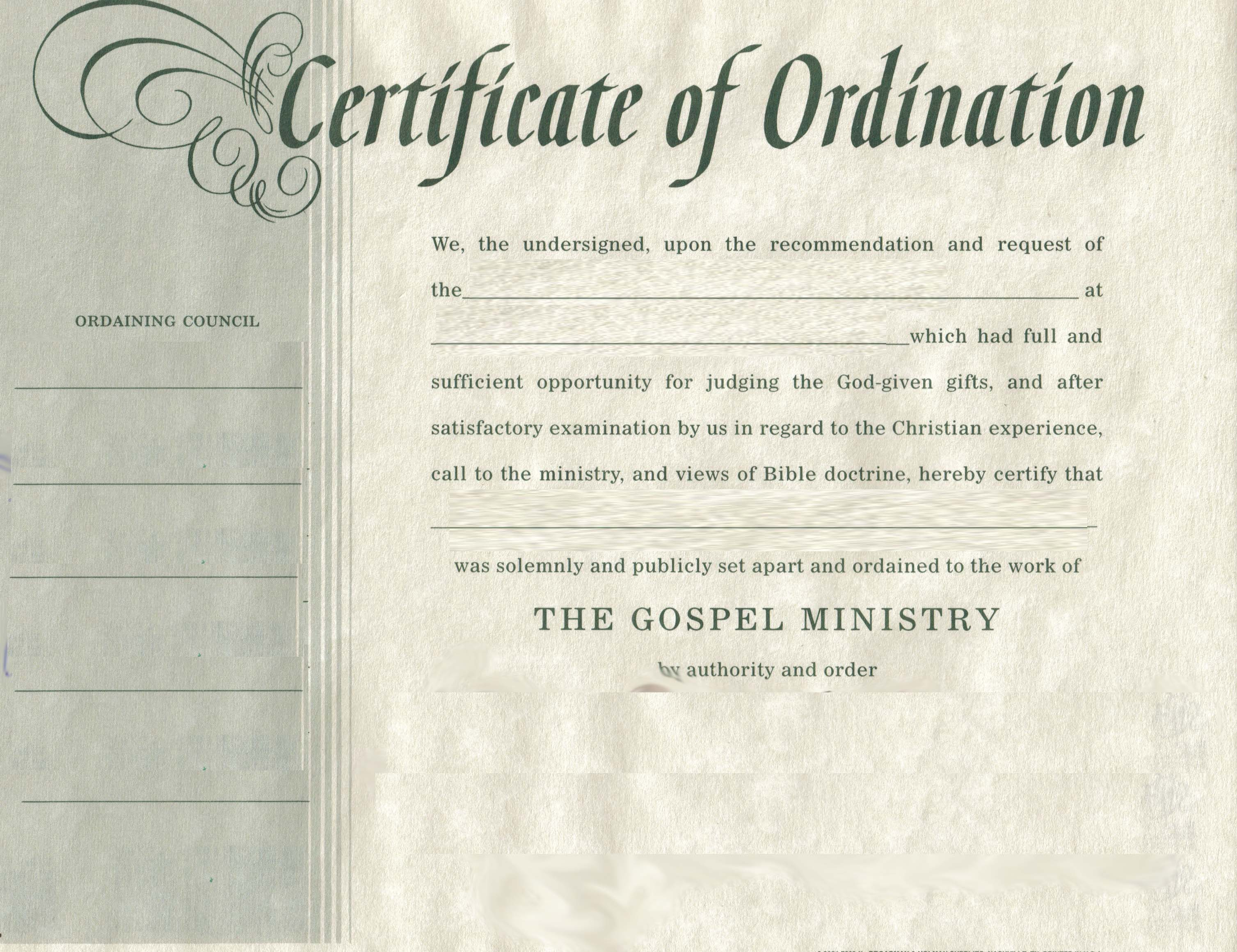 Search results for ordination certificate for deacon for Minister license certificate template